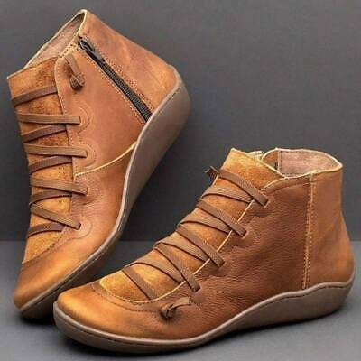 Women Boots Arch Support Ankle Winter Shoes Low Flat Heel J • 11.50£