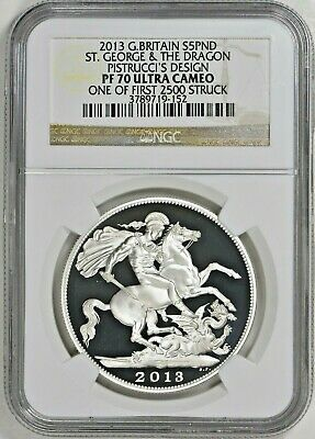 $275 • Buy 2013 Great Britain Silver St George The Dragon Pistrucci Proof £5 NGC PF70 UCAM