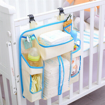 Baby Cot Bed Hanging Storage Bag Crib Organizer Toy Diaper Pocket P3 • 13.99£