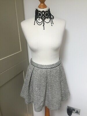 Ladies Cream Grey Sparkly Peplum Topshop Wool Mix Lined Skirt UK Size 14 • 6.50£