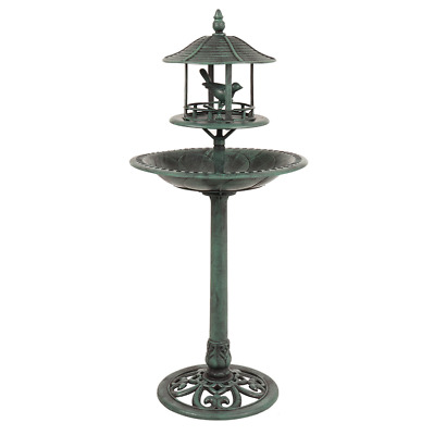 Ornamental Garden Bird Bath & Sheltered Bird Feeding Table • 23.75£
