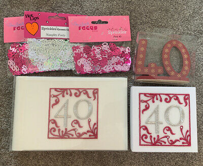 £4.75 • Buy 40th Birthday Bundle Photo Album Cake Topper Gift Box Table Decorations 40 Pink
