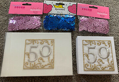 50th Birthday Anniversary Bundle Photo Album Gift Box Table Decoration 60 Silver • 5.50£