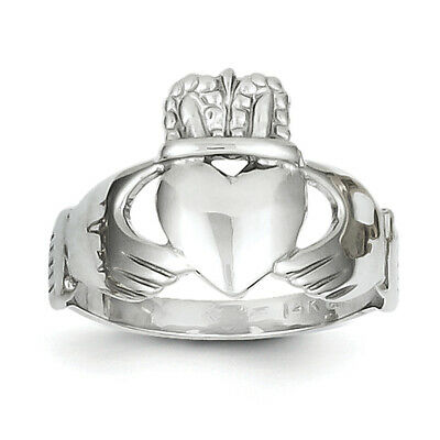 $176.99 • Buy 14k White Gold Ladies Claddagh Ring D3111 Size 5.5