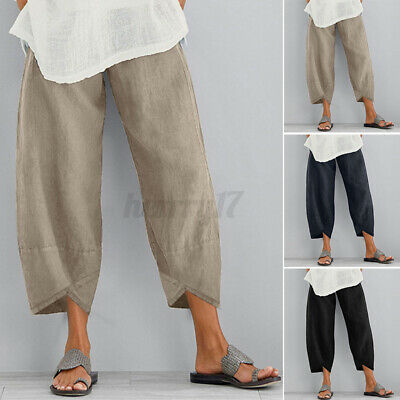 Womens Ladies Elastic Waist Pants Crop Cotton Linen Loose Harem Trousers Plus • 10.54£