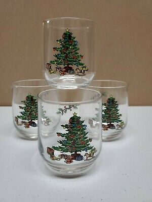 $12.50 • Buy 6 Holiday Hostess Rock Old Fashioned Glasses  Green Christmas Tree