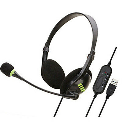 USB Headphones With Microphone Noise Cancelling Headset For Skype PC Laptop ++ • 9.28£