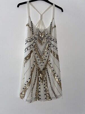 Lipsy Beaded Sequin Art Deco Dress Aztec Size 6 Wedding Occasion Gold Christmas • 19.99£