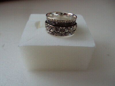 $10 • Buy Spinner Designed 10mm Band Sterling Silver Ring Size 7 DAD560