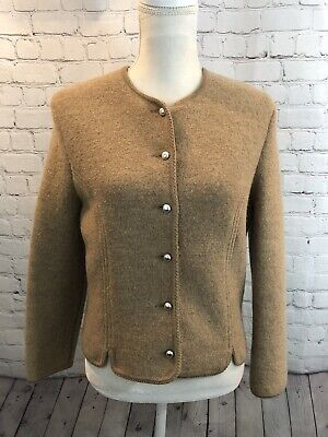 $27.50 • Buy Womens Geiger Austria Tan Button Boiled Wool Fitted Jacket Crop Blazer Sz 44