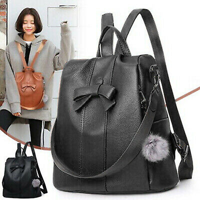 Ladies Women Girls Backpack Travel Shoulder Bag PU Leather Rucksack Handbag  • 9.89£