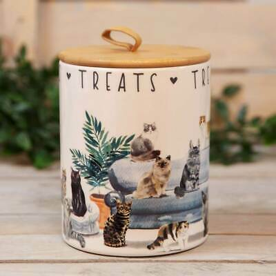 Best Of Breed Ceramic Cat Treats Food Storage Jar Box Pot Cats Lover Container • 14.99£