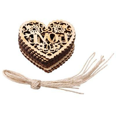 Wooden Love Hearts Craft Hanging Shape Tag Wedding Decoration Embellishment J • 2.63£