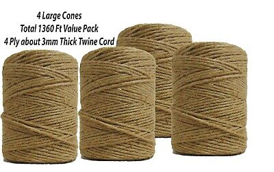 1360ft Jute Burlap Twine String, 3mm Natural, 4-ply Cord Rope For Craft Gift DIY • 28.62£