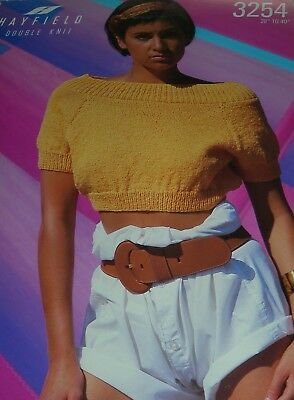 Hayfield Knitting Pattern Lady's DK Cropped Short Sleeved Top 3254 • 2.50£