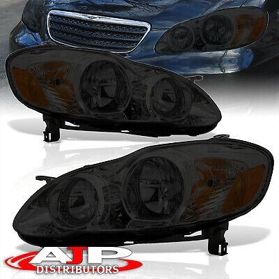 $72.99 • Buy Smoked Amber JDM Head Lights Lamps Assembly LH RH For 2003-2008 Toyota Corolla
