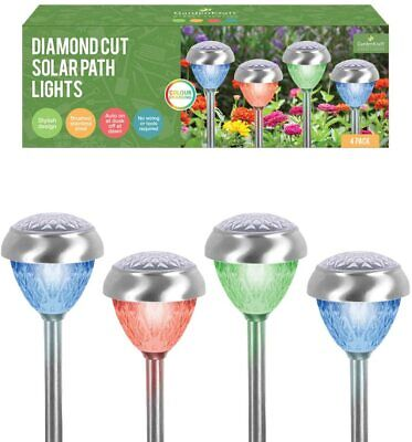 4PK Solar LED Garden Lights Post Patio Path Outdoor Lighting Colour Changing • 14.95£
