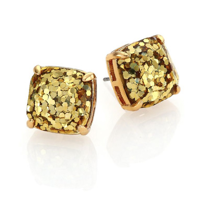 $ CDN19.13 • Buy Kate Spade Small Square Stud Gold Glitter Earrings W/ Gift Box