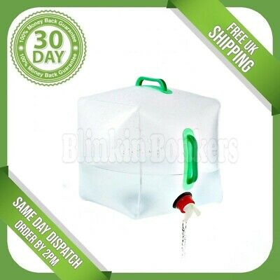£8.89 • Buy Large 20 Litre Water Bottle Tap Food Grade Collapsible Camping Container Carrier