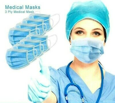 £3.96 • Buy 50 X  FACE MASK Surgical Black 3 Ply Earloop Mouth Nose Guard Protection Uk