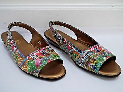 ICON Painterly Garden Print Sling-back Low Wedge Sandals Size 9 WORN ONCE • 61.51£