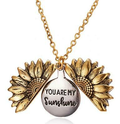 HOT You Are My Sunshine  Open Locket Sunflower Pendant Necklace Women's Gifts • 2.69£