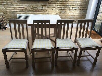 Four X Limed Oak Dining Chairs With Designers Guild Covers • 150£