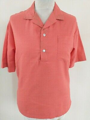 Tropical Front Size Medium Dull Orange Short Sleeve Tunic Shirt • 3.50£