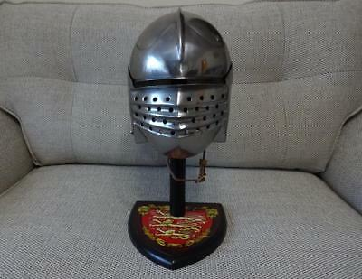 Bellows Face Helmet Medieval Head Armour Re-enactment Stage LARP Or Display NEW • 89.99£