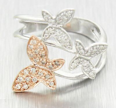 $549 • Buy Vintage Estate 18k Solid White & Rose Gold 0.80ctw Diamond Butterfly Ring