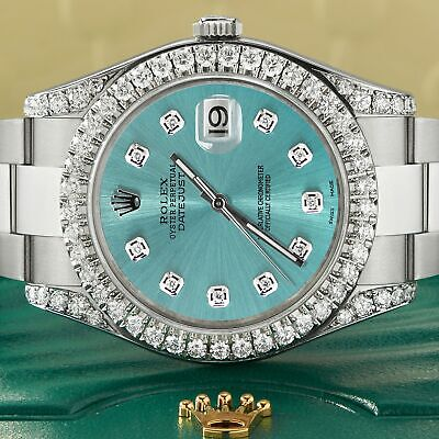 $ CDN15115.37 • Buy Rolex Datejust II Steel 41mm Watch 4.5CT Diamond Bezel/Lugs/Ice Blue Dial