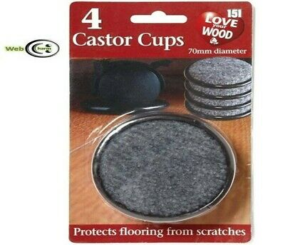 4 X LARGE PADDED CASTOR CUPS 70MM BLACK FURNITURE CHAIR LEG FLOOR PROTECTORS-151 • 2.89£