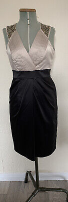 £10 • Buy Special Occasion Pencil Wiggle Dress Sequin  Sleeveless Black & Gold Size 10