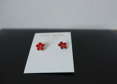 $ CDN24.18 • Buy Kate Spade Red / Silver Flower Earrings. New