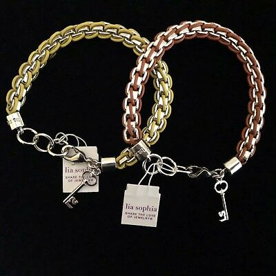 $ CDN19.99 • Buy LIA SOPHIA Bracelet Lot Silver Tone Yellow Orange Leather Key Charm