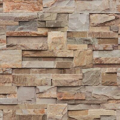 £8.95 • Buy Natural Brown Beige Stone Slate Tile Brick Wall Textured 3D Feature Wallpaper