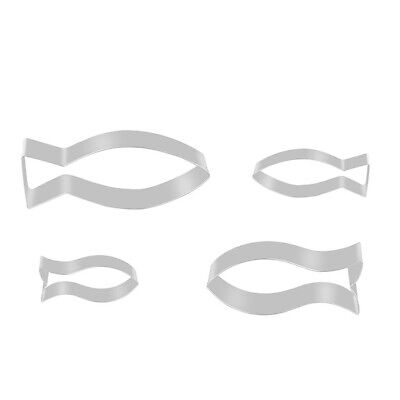 4pcs Kitchen DIY Fish Shaped Stainless Steel Cookie Biscuit Baking Cutter Mold • 4.38£