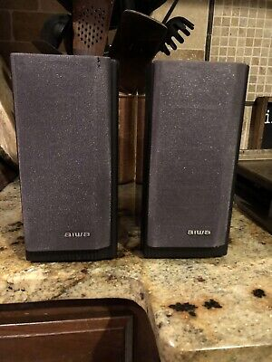 $35 • Buy Vintage Black Aiwa Bookshelf Speaker Pair System SX-LMS5 Tested & Working 7x4x8