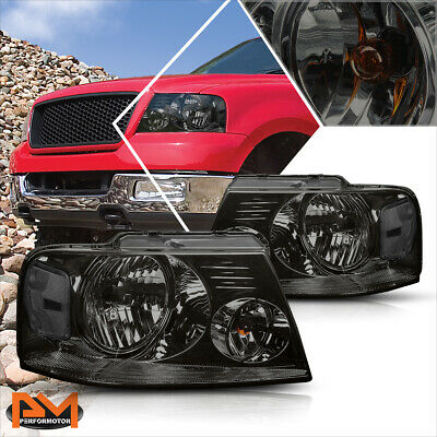 $77.89 • Buy For 04-08 Ford F150 Pickup Smoked Housing Headlight Clear Side Corner Lamps Pair