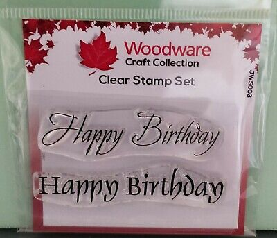 HAPPY BIRTHDAY (JWS003) - Mini Clear Magic Stamps - Woodware • 2.25£