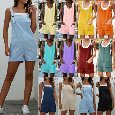 $18.89 • Buy Plus Womens Shorts Beach Mini Jumpsuits Rompers Dungarees Casual Overalls Summer