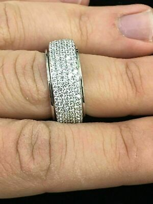 $10 • Buy Fine Sterling Silver And Cubic Zirconia Spinning/Spinner Fashion Ring Band