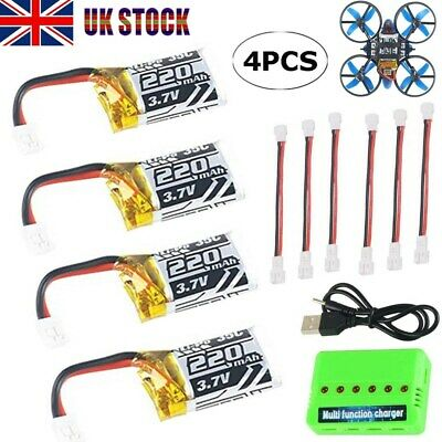 4pc 3.7V 220mAh 1S LiPo Battery 35C W/ 6-in-1 Charger & Cable For JJRC RC Drone • 13.44£