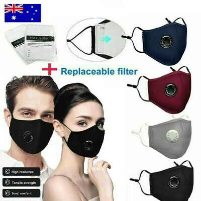 AU26.99 • Buy Anti Air Pollution Face Mask P2 Filter Washable Reusable Respirator & 2 Filters