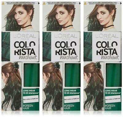 3 X L'OREAL COLORISTA WASHOUT PAINT SEMI-PERMANENT HAIR DYE - GREEN  • 12.98£