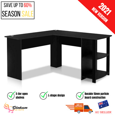 AU150.46 • Buy Artiss Office Computer Desk Corner Student Study Table Workstation L-Shape Black