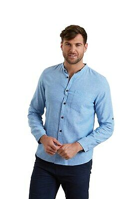Mountain Warehouse Men Grandad Linen Long Sleeved Shirt • 14.99£
