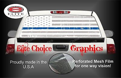 White Distressed Thin Blue Line Flag Rear Window Graphic Decal Truck Van Car • 41.79£