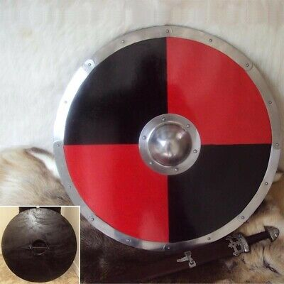 30  Red & Black Large Round Viking Shield For Re-enactment Stage Or Decoration • 74£