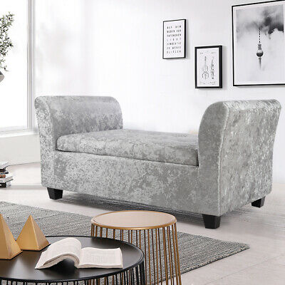 Rall Arm Window Bench Chaise Longue Chair Crushed Velvet Storage Ottoman Bedroom • 191.94£